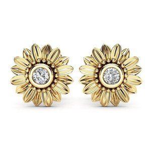 18K Gold Diamond Sunflower Daisy Earrings